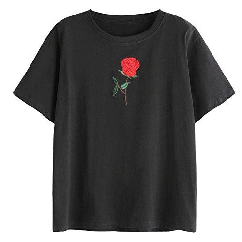WOCACHI Damen Sommer T-Shirts Frauen Sommer Eine Rose Stickerei Bedruckte Bluse Kurzarm O-Ausschnitt Tops T-Shirt (3XL/42, Black)