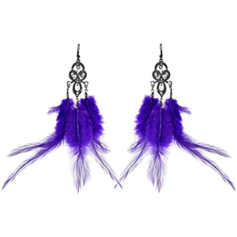 Lux accessori Uccelli di una piuma Flock insieme cristallo viola Orecchini Statement