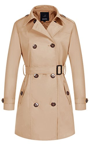 Wantdo Damen Mantel Zweireiher Lange Trenchcoat mit Gürtel Khaki XX-Large