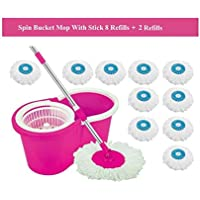 Souxe Spin Bucket Mop with 10 Refills- Super Absorbent Refills for All Type of Floors, 360 Degree Spin Bucket, 180 Degree Bendable Handle, for Perfect Cleaning (Color May Vary)