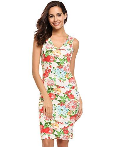 HOTOUCH Damen Etuikleid Vintage Kleid Cocktailkleid Midikleid Bleistift Kleid Rockabilly Kleid Festliche Bodycon Enges Kleid Mit Blumendruck