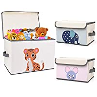 DIMJ Kids Storage Box Fabric Animal Toy Box Foldable Cartoon Toy Organizer Box with Lid and Reinforce Handle Toy Container for Books, Closet, Bedrrom, Home