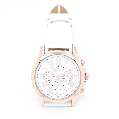 Fortan 2016 Mode römischen Ziffern Faux der neuen Frauen-Leder-Armbanduhr-Weiß