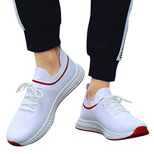 Gestrickte Turnschuhe Der Art Und WeisemäNner Bequeme Socken Schlichte Leichtgewichts Low-Top-Sneakers Laufschuhe Atmungsaktiv SchnüRer Sportschuhe Sneaker Fitness Gym Schuhe