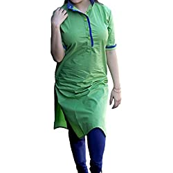 Varibha® Women's Green Cotton XXL Size Kurta | Best Deal Of The Day | Best Offer Of The Day | diwali offers for women dresses | diwali offers for women dresses | diwali offer 2017 | today best offers