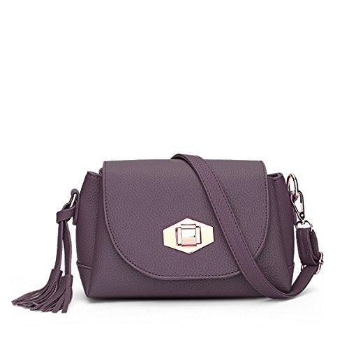 Hqyss Borse Da Donna Donna Pu Leather Simple Simple Shoulder Messenger Borsa A Tracolla Leggera Colore Solido Con Fibbia Tassel Bag Ash Purple (s)