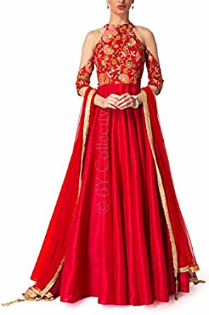 Monika Silk Mill dress materials for women cotton new collection party wear material below 999 latest design ladies 300 anarkali offer pack designer embroidered embroidery work womens georgette heavy today low price today readymade Cream Georgette Semi Stitched Salwar Suit (Banglori Silk, Red)