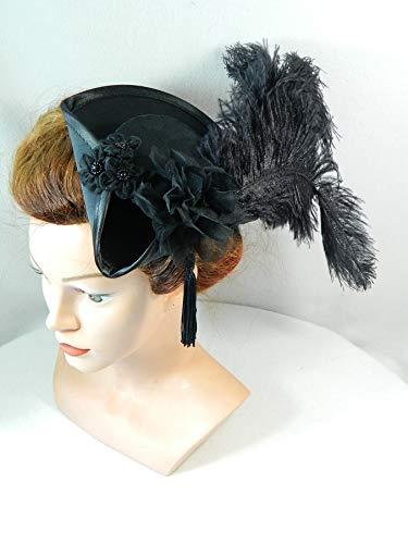 Kostüm Girl Oktoberfest - Mini Dreispitz schwarz Marie Antoinette Barock Rokoko Western Headpiece Haarschmuck Dirndl Oktoberfest