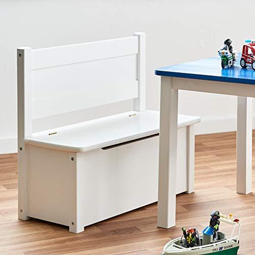 Diluma Truhenbank für Kinder - Bequeme Sitzbank in Weiß für Mädchen und Jungen - Kindermöbel zum Sitzen und für Aufbewahrung von Spielzeugen