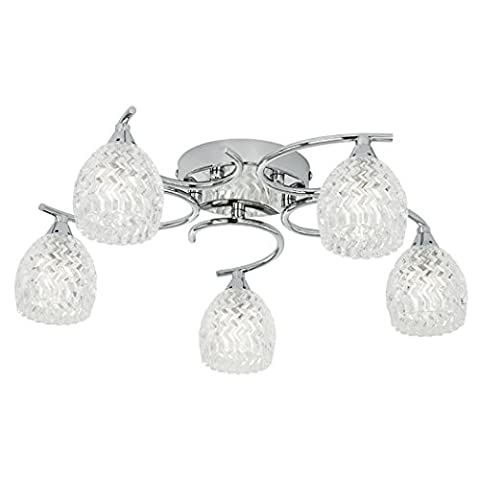 Endon Boyer 5 arm ceiling light in chrome and glass (Boyer-5CH)