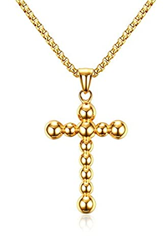 Vnox Men's Stainless Steel Gold Plated Ball Beads Cross Pendant Necklace,Free Chain
