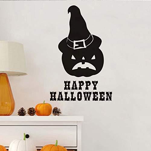 ALXCHD Happy Halloween Kürbis Zauberer Hut Wandaufkleber Für Kinderzimmer Abnehmbare Aufkleber Poster Home Halloween Dekoration Zubehör (Wallpaper Halloween Kürbisse)