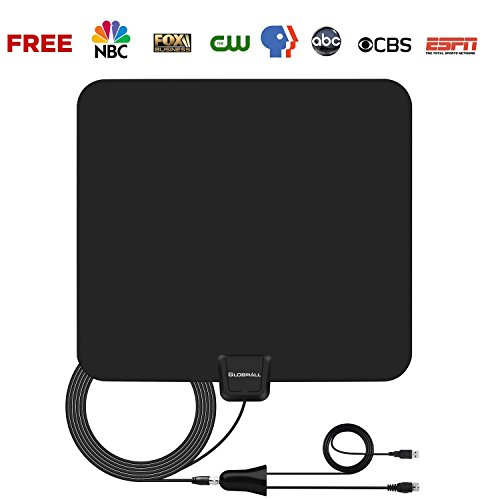 Globmall Antena de TV 80KM Amplía la Antena HDTV TDT de Interior con Amplificador de Señal Desmontable y un Alto Rendimiento Cable Coaxial de 4m Compatible con 1080P