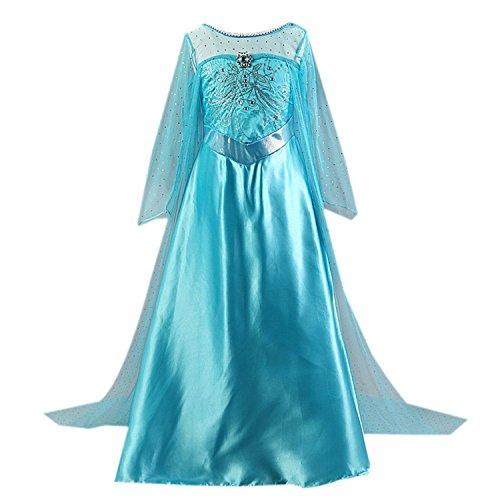 Kidslove Prinzessin Karneval Mädchen Party Kleid Cosplay Verkleidung Mädchen Kleid, Blau, 130