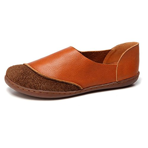 Vogstyle Femme vintage Handmade Chaussures plates en cuir des Style-4 Brun