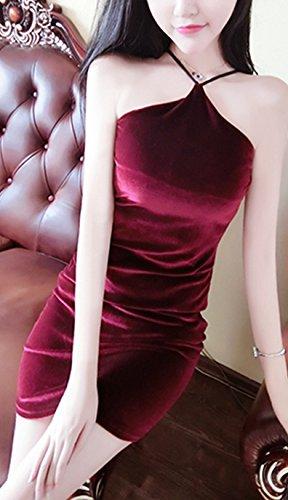 Mesdames Robes De Soirée Courte Dos Nu Elegante Vintage Moulante Cocktail Robes Habillées Robes Rétro Bordeaux