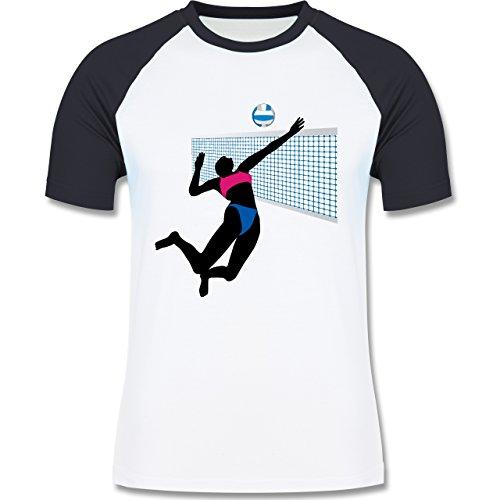 Volleyball - Beachvolleyballspielerin Netz Ball - zweifarbiges Baseballshirt für Männer Weiß/Navy Blau
