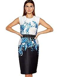 4d936c0519 Debenhams Star by Julien Macdonald Womens Blue Floral Print Scuba Knee  Length Shift Dress
