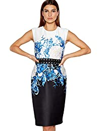 e30440f87e3 Debenhams Star by Julien Macdonald Blue Floral Print Scuba Knee Length  Shift Dress 14