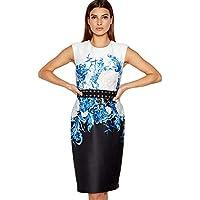 20037f537c3c Debenhams Star by Julien Macdonald Blue Floral Print Scuba Knee Length  Shift Dress 10