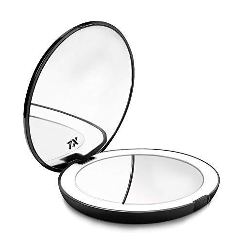 Espejo de Bolsillo Maquillaje Compacto con luz LED Iluminado Aumento de 1X/7X de Mano Portátil Doble...