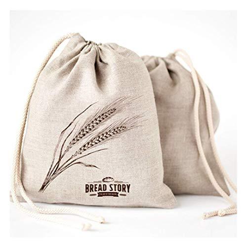 Natur Leinen Brot Taschen - 2er Pack 30x40cm ideal für selbstgebackenes Brot, ungebleicht, wiederverwendbar zur Aufbewahrung von Lebensmitteln, Einzugs, Speicher für Handwerker Brot -Bakery & Baguette -