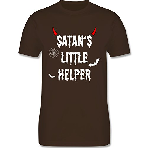 hsene - Satan's Little Helper - Halloween - Teufel - Hörner - Fledermaus - L - Braun - L190 - - Premium Männer Herren T-Shirt mit Rundhalsausschnitt (Teufel Hörner L)