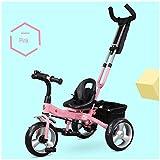 HBSC Triciclo per Bambini con Asta di Spinta Staccabile E poggiapiedi Ripiegabile, Limite dello sterzo del Manubrio a 30 °, Altezza Regolabile, per 18 Mesi - 5 Anni, 3 Colori 1bicycle Regalo Pink