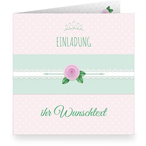 Set 24 x Schöne rosa Einladungskarte mit Wunschtext und Innendruck/Vordruck zum Ausfüllen (quadratisch, 15,5x15,5cm inkl Umschlag) shabby chic - Taufe, Erstkommunion, Einschulung, Firmung