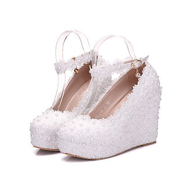 Wuyulunbi@ Scarpe donna vera stagione tutti i comfort scarpe matrimonio punta tonda per la festa di nozze & sera Rosa Bianco US5.5 / EU36 / UK3.5 / CN35