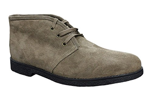Stivaletti polacchine uomo scarpe beige pelle scamosciata casual made in italy (41)