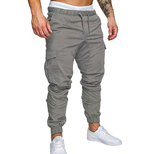 DressLksnf Homme Poche Pantalon Cordon de Serrage Couleur Unie Pantalon décontracté Petits Pieds Salo