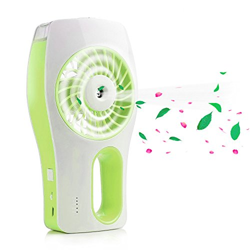 Tagvo Ventilador Recargable con humidificador Aromatherapy, Mini USB Ventilador Muitifunction Mist Purificador/Aire Acondicionado, Ventilador Portátil silencioso Pequeño Portátil de Escritorio