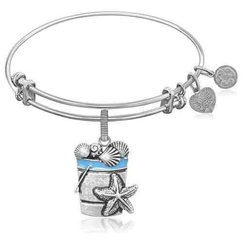 Jewels By Lux Erweiterbar Armreif in weiß Ton Messing mit Strand Eimer mit Muscheln Symbol