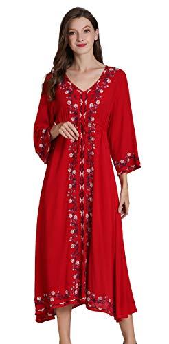 Shineflow Damen Casual 3/4-Ärmel Floral bestickt mexikanische Bauer Dressy Tops Blusen Hemd Kleid Tunika Gr. 42, burgunderfarben