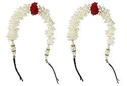 AASA Hair Accessories Gajra For Women Wedding, Bridal Gajra Hair Accessories, Hair Gajra Flowers Artificial, Hair Accessories For Girls For Wedding, White, 30 Gram, Pack Of 1 (10246)
