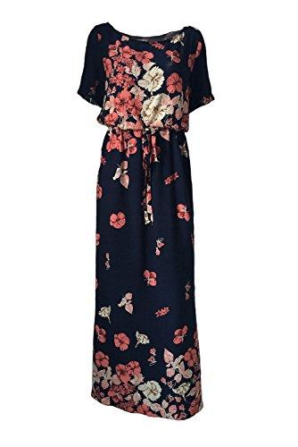 Grecian Plus Größe Kleid (merr.Jarr Damen Maxikleid mit Ärmel Blumendruck Baumwolle SundressSummer Strand Lange Boho Kleid Blau Größe)
