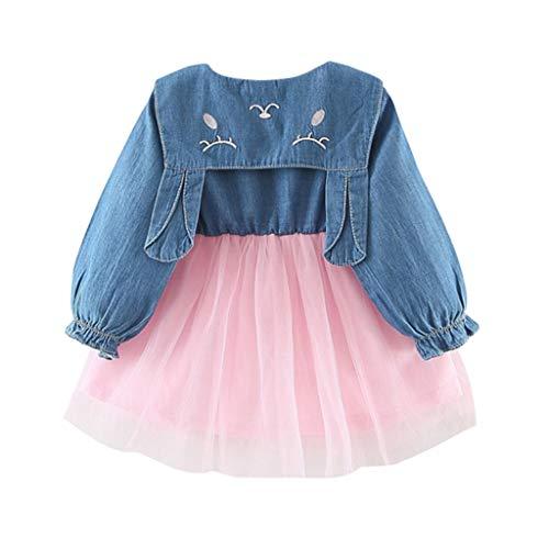 Julhold Kleinkind Baby Kinder Mädchen Einfach Tüll Denim Patchwork Kaninchen Ohr Baumwollkleider Freizeitkleidung 0-3 Jahre