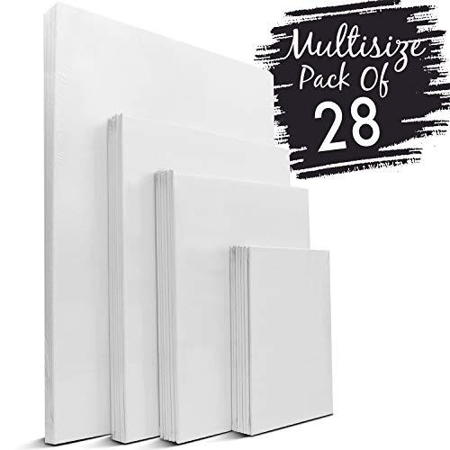18 X 18 Leinwand (Zenacolor - Canvas Set 28 teilig - Leinwand zum Malen Multisizes - 13x18, 20x25, 24x30, 30x40-100% Säurefreie Baumwolle - Jede Art von Leinwand Malerei)