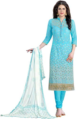 DnVeens Pure Cotton Embroidered, Embellished Salwar Suit Dupatta Material (Unstitched) for Womens (Girls Embellished Dress)