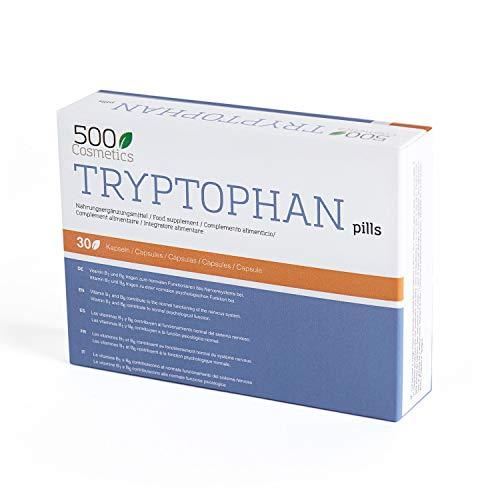 500Cosmetics Tryptophan - Cápsulas Naturales contra el Estrés y la Ansiedad - Mejora la Calidad del Sueño y Ayuda contra el Insomnio - 100% Natural - 1 toma diaria - Fabricado en la UE (1)