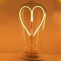 Alk ST64E274W LED lampadine a filamento decorativa stile vintage Edison (modello a cuore)