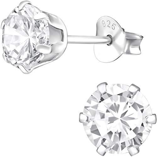 EYS Jewelry Orecchini da donna rotondi in argento Sterling 925 con zirconi bianchi 6 mm, orecchini da donna con custodia