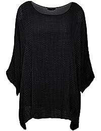 CELEB LOOK U13 Celebmodelook Womens Ladies Italian Cotton Plain Loose Fit Batwing Lagenlook Kimono Top Dress Insert Vest Plus Size 8-22