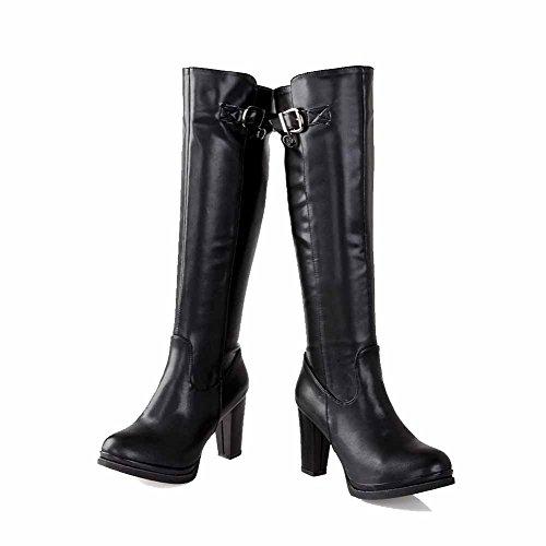 VogueZone009 Damen Hoher Absatz Rein Weiches Material Reißverschluss Stiefel mit Schnalle, Schwarz, 37
