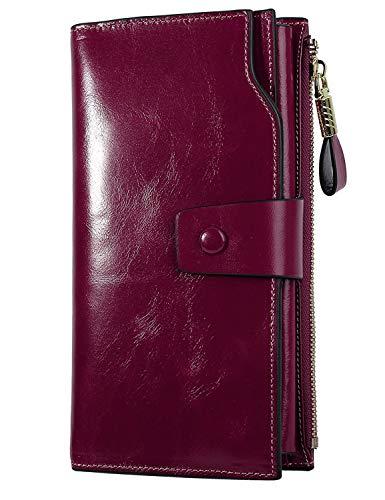 PARVENZA Femme Portefeuille RFID Blocage Bourse Cuir Véritable de Cire Porte-Monnaie Grande Capacité Purse Wallet Violet PVZ0702V