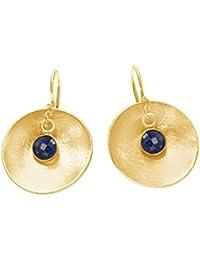 Gemshine - Damen - Ohrringe - Ohrhänger - 925 Silber - Vergoldet - Schale - Geometrisch - Design - Saphir - Blau - 2 cm