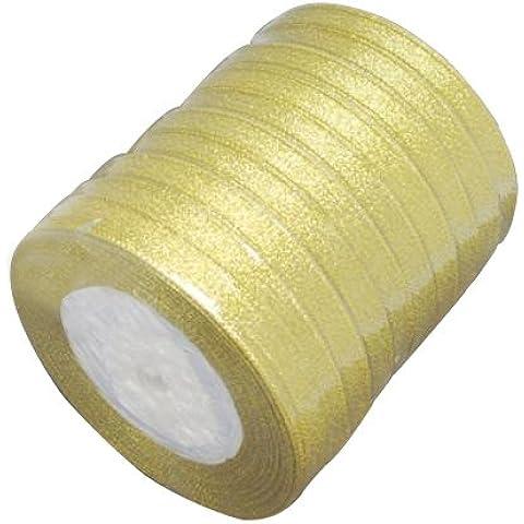 Pandahall,cinta de la chispa, material de bricolaje de organza arco, doble cara, dorado, tama?o: cerca de 10 mm de ancho, 25 yardas / rodillo, 10 rollos / grupo, 250 yardas/grupo