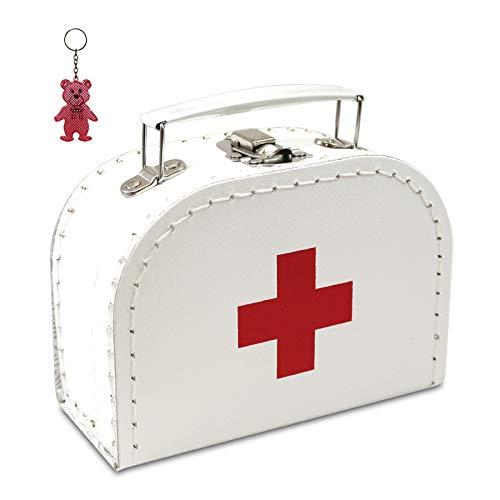 Arztkoffer Pappe weiß mit rotem Kreuz 16 cm inkl. 1 Anhänger Reflektorbärchen, Kinderkoffer, Malkoffer, Spielzeugkoffer, Reisekoffer, Puppenkoffer, Pappkoffer, Doktor-Koffer