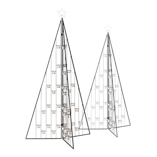 Pureday Weihnachtsdeko - Dekoobjekt Weihnachtsbaum Teelichter - Teelichthalter - Metall Glas - Schwarz